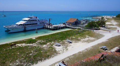 A view of the ferry boat from atop Fort Jefferson.