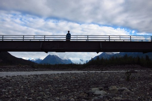 Scott on the footbridge over the Copper River on the way to McCarthy
