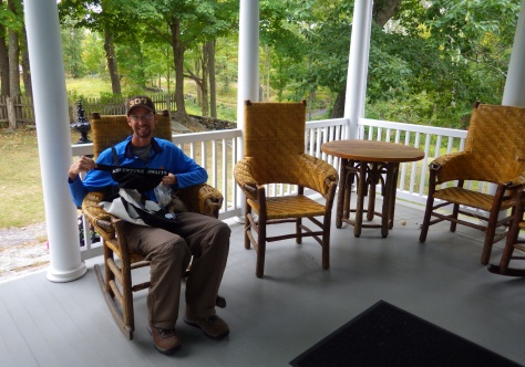 On the porch of the Weir Farm House