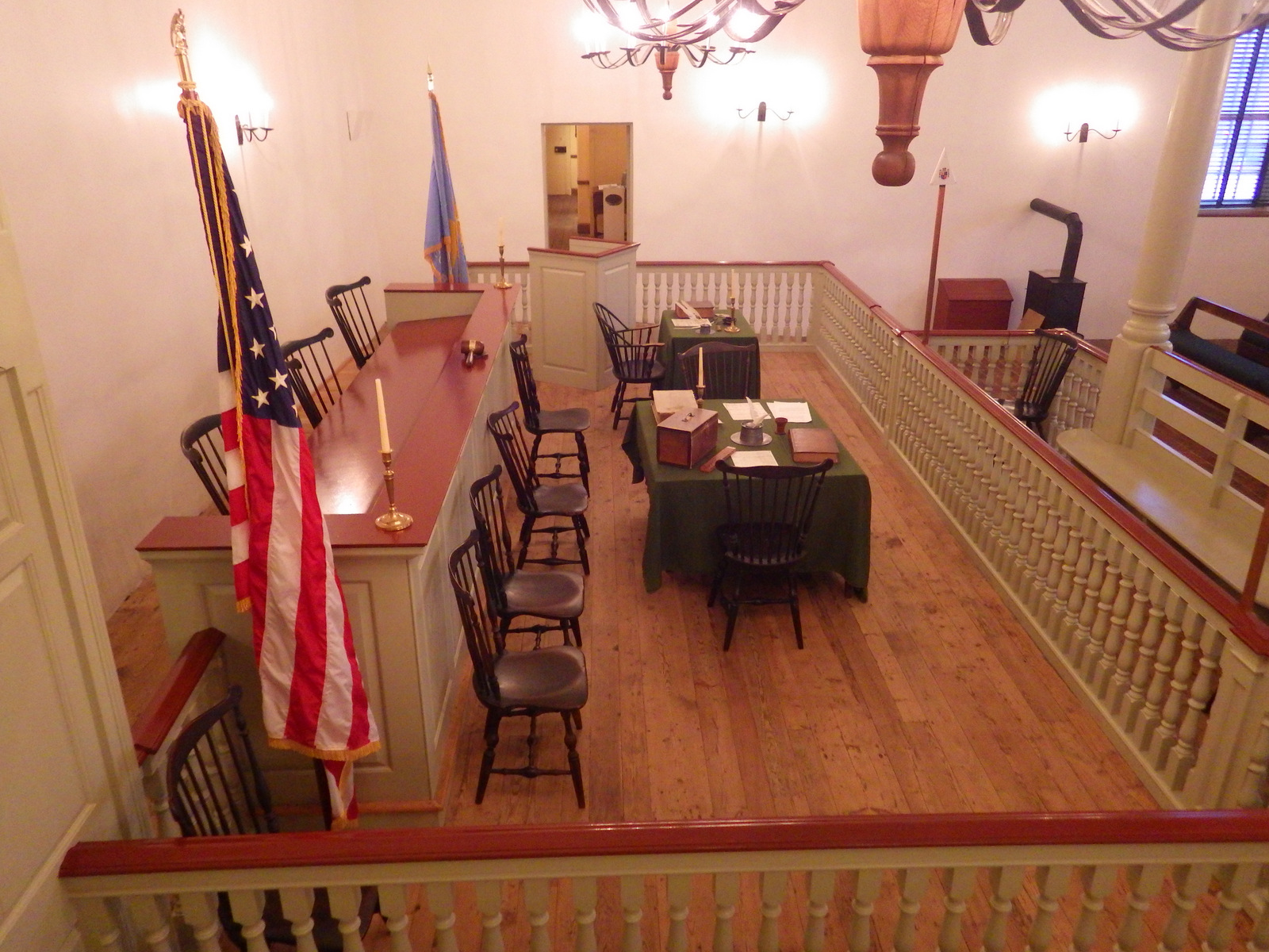 View of English-style courtroom inside Old New Castle Courthouse
