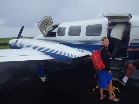 Tiff boarding our plane to get topside on Moloka'i