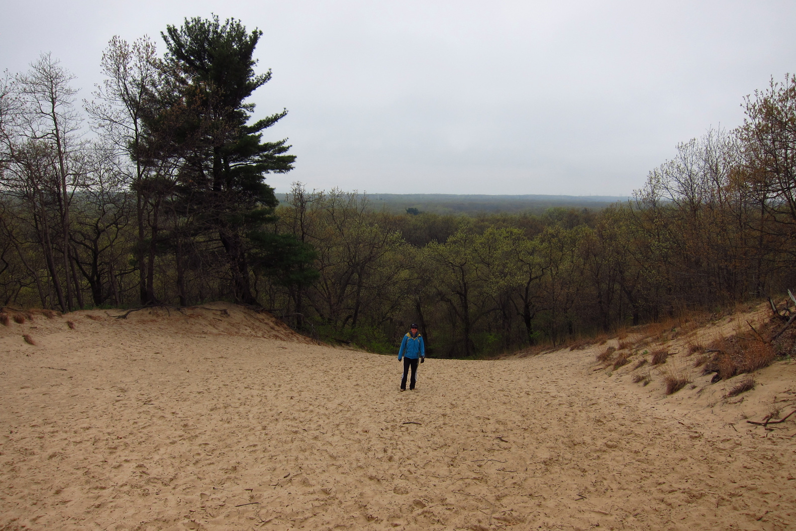 Climbing the dunes - there was a hiking challenge, so we had to do it