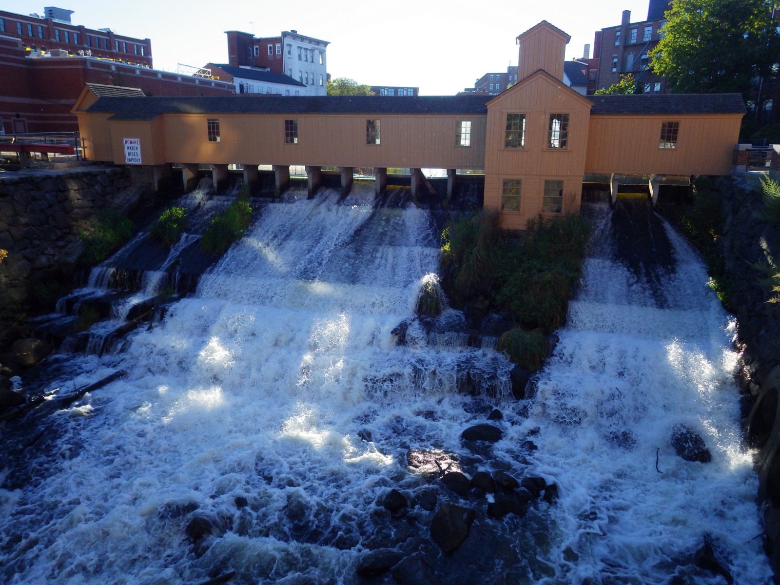 A dam on the canal system in Lowell