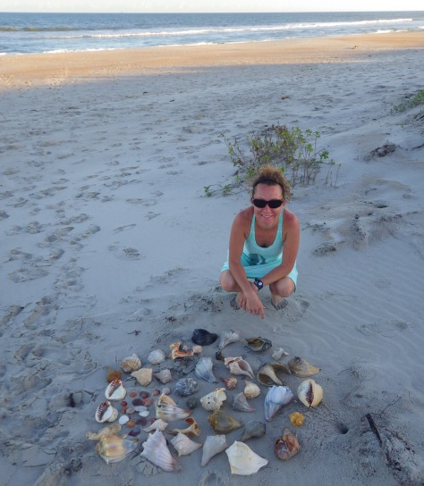 Tiff with her collection of shells she found