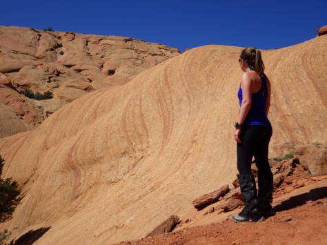 Tiff checking out some cool sandstone