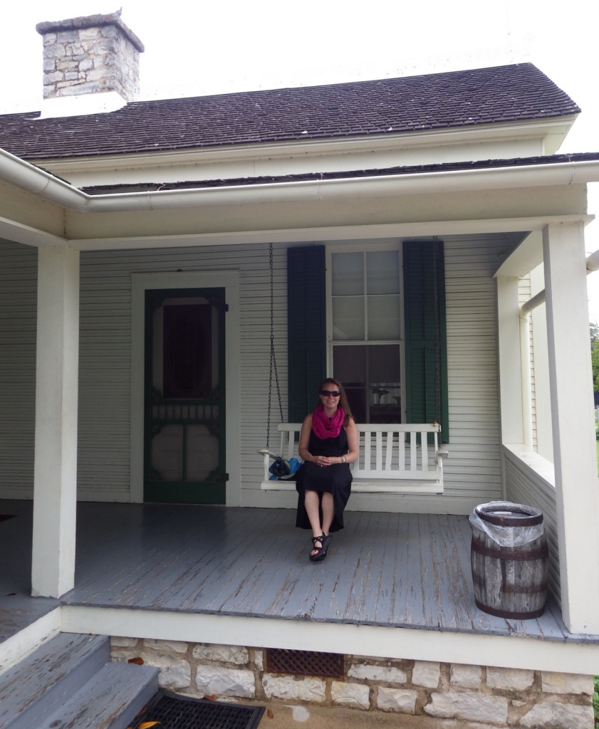 Tiff on the porch of LBJ's boyhood home